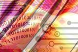 binary data - techno background poster