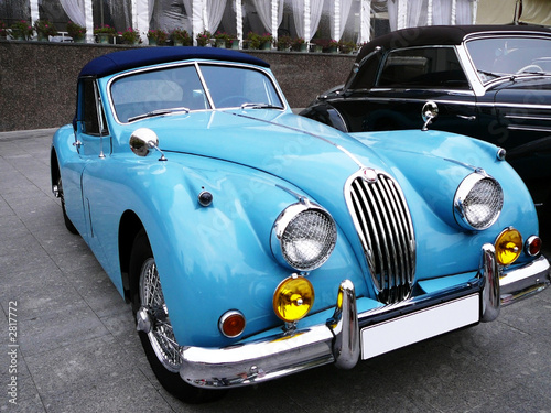 Poster Oude auto s blue cabriolet