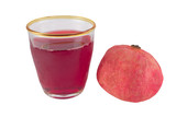 pomegranate juice with fruit on white poster