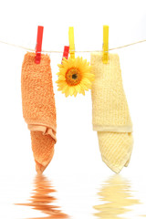 towels hanging on rope