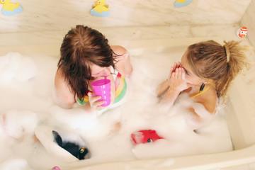 two women in bathtub