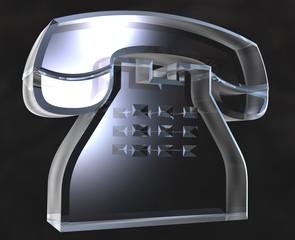 simbolo telefono in vetro a fondo nero