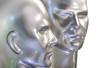 deux têtes de robots sur fond blanc