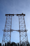 big double electricity pylon in the forest poster