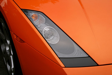 orange supercar headlight