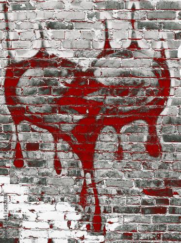 graffiti - breaking heart on brick wall