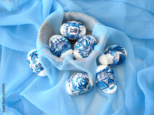 beautiful blue easter eggs and basket