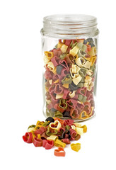 colorful pasta hearts in a jar