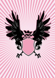 shield with black wings on pink rays background poster
