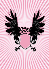shield with black wings on pink rays background