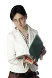 businesswoman with documents poster