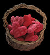 basket of fabric hearts