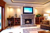 fireplace and plasma tv poster