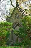 memorial chapel, dated 1867, at historic spring grove cemetery i poster