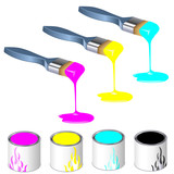 three color paintbrushes with paint cans poster