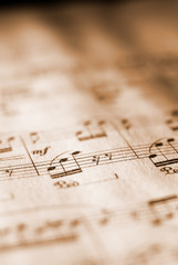 sheet music in sepia tone