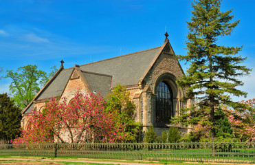 the historic norman chapel at spring grove cemetery, cincinnati