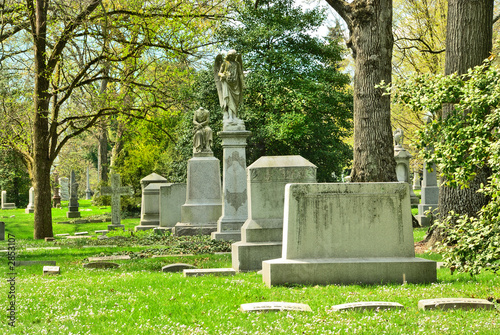 memorial grave markers at historic spring grove cemetery in cinc