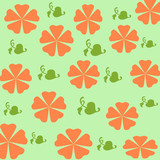 orange flowers gift wrap poster
