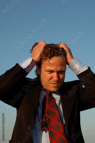 stressed business man or salesman