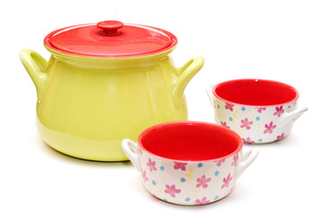 colourfull soup tureen and cups