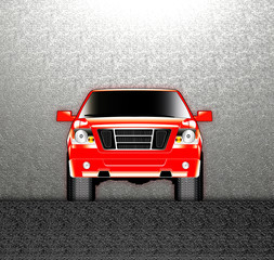 red truck front view on metal background