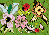 spring flowers with ladybugs poster