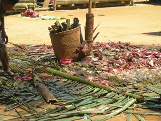 blood intestine for a toraja ceremony, rantepao, sulawesi island