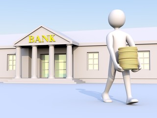 man & bank & money