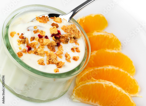 fresh yogurt pot with orange