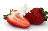 whole and sliced strawberries and white flower poster