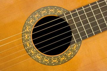classical acoustic guitar, close-up