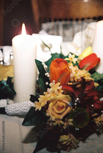 yellow, orange & red rose bouquet with pearls