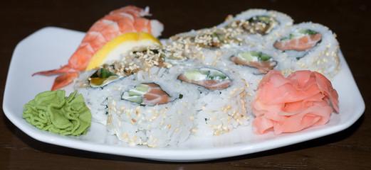 nigiri sushi, california rolls, shrimp rice plate