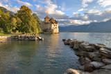 fortress shillon  on lake leman poster