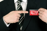 salesman offering a bargain poster