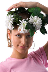 girl with wreath