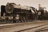 vintage sepia steam train poster