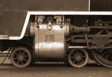 vintage sepia steam train piston poster