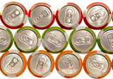 color aluminum drink cans piled poster