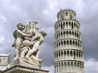 pisa tower and statue - 2
