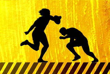 rugby player running try tackle on yellow bg