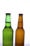 two beer bottles isolated
