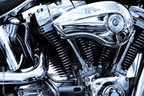 gros plan du moteur d'une moto de légende - 2898321