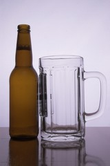 a beer bottle and a pitcher