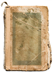 very old tattered book on white