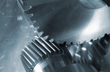 gear and gear-shaft in blue poster