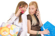 young girls shopping and talking on the phone