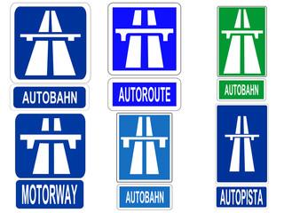 german autobahn, french autoroute signs