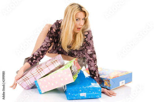 blond girl with shopping bags